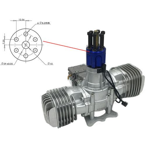 DLE 130 RC Model Gasoline Engine 130CC Displacement Dual Cylinder Two Strokes Air Cooling Hand Start