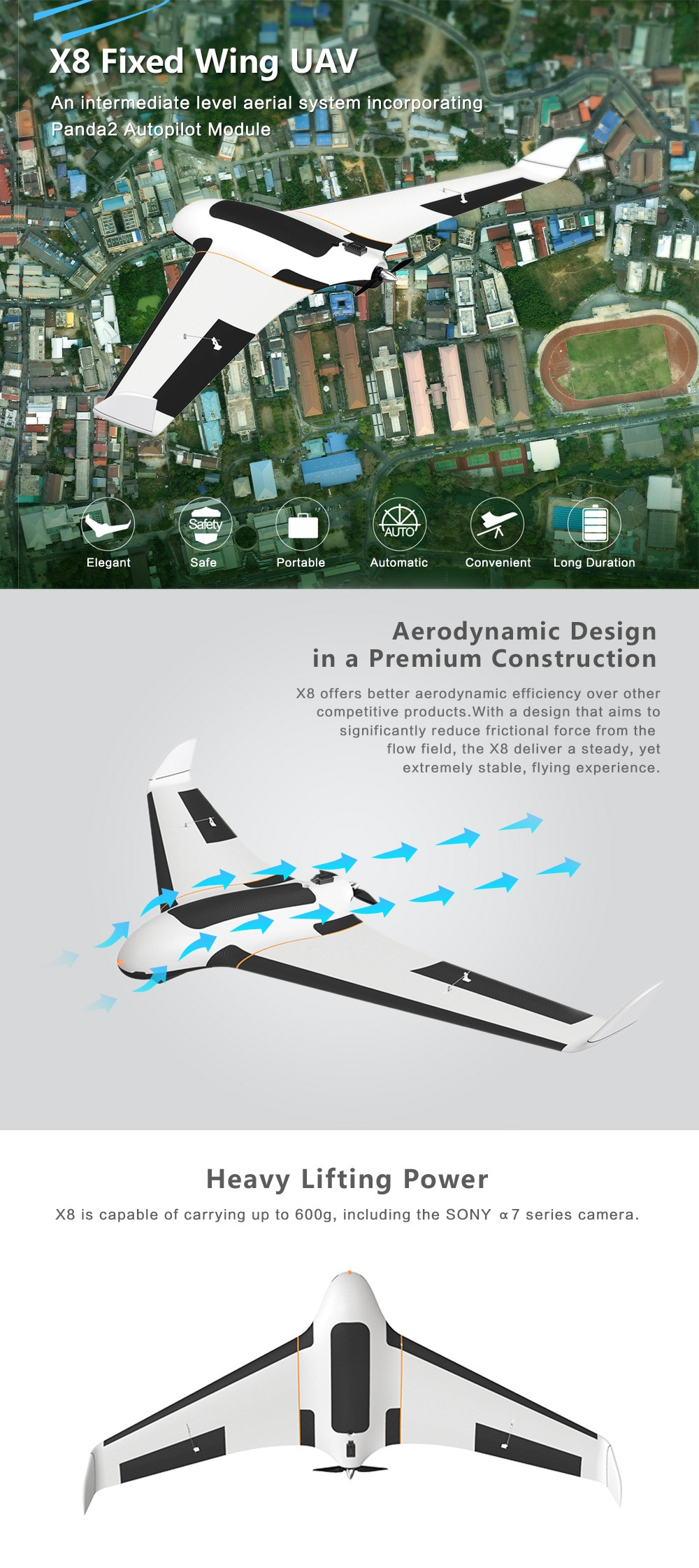 Feiyu Tech X8 UAV Professional Airplanes GIS